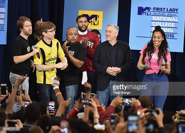 Daymond John Robert De Niro and La La attend the 3rd Annual College Signing Day at the Harlem Armory on April 26 2016 in New York City The event...