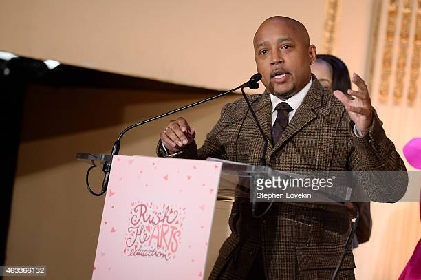 Daymond John speaks on stage at Russell Simmons' Rush Philanthropic Arts Foundation's annual Rush HeARTS Education Valentine's Luncheon at The Plaza...