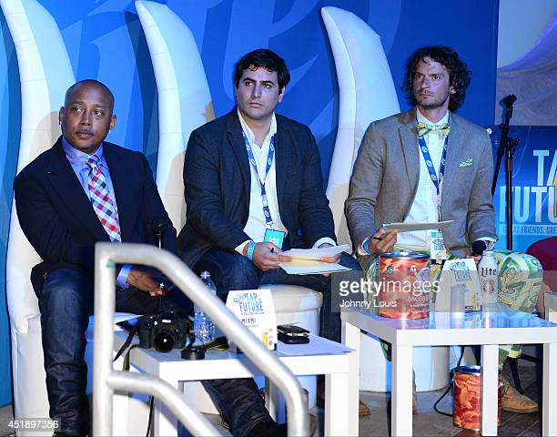 Daymond John Wiferdo Fernandez and Neal Gottlieb attend Tap The Future event at Nikki Beach on July 8 2014 in Miami Beach Florida