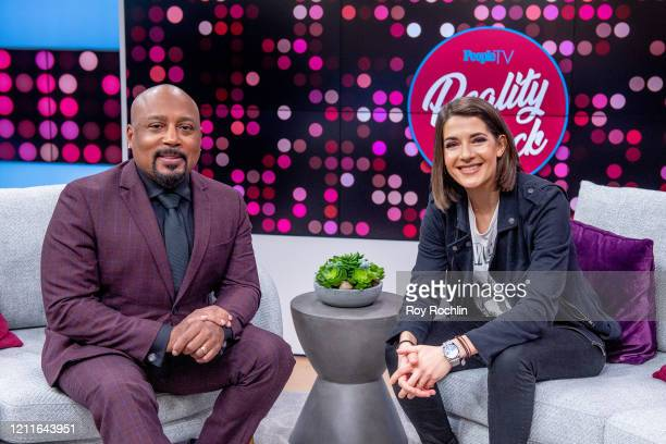 """Daymond John with host Daryn Carp as he visits """"Reality Check"""" on People TV on March 10, 2020 in New York City."""