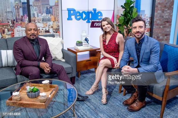 Daymond John with hosts Jeremy Parsons and Andrea Boehlke as he visits People TV on March 10, 2020 in New York, United States.