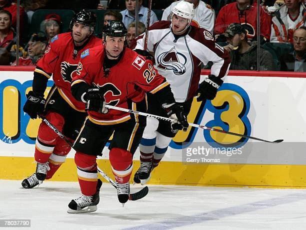 Daymond Langkow of the Calgary Flames skates against the Colorado Avalanche on November 20, 2007 at Pengrowth Saddledome in Calgary, Alberta, Canada....