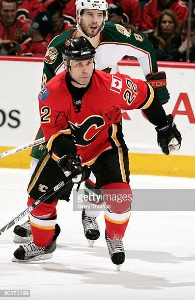 Daymond Langkow of the Calgary Flames skates against the Minnesota Wild on March 22, 2008 at Pengrowth Saddledome in Calgary, Alberta, Canada. The...