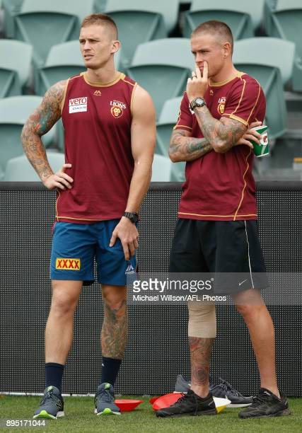 Dayne Beams and Claye Beams of the Lions look on during the Brisbane Lions AFL preseason training session at University of Tasmania Stadium on...