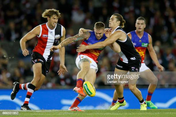 Dayne Beams of the Lions kicks the ball during the round three AFL match between the St Kilda Saints and the Brisbane Lions at Etihad Stadium on...
