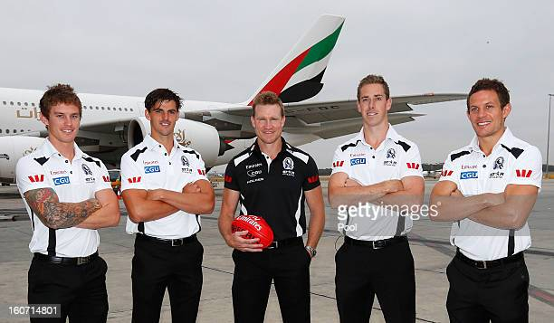 Dayne Beams Scott Pendlebury Nathan Buckley Nick Maxwell and Luke Ball pose during the Collingwood Magpies 2013 Captaincy And Leadership Group...