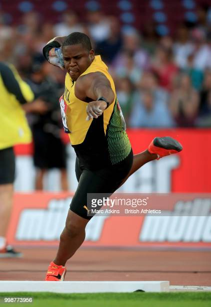 Dayne Richards of Jamaica competes in the Men's Shot Put during day one of the Athletics World Cup London at the London Stadium on July 14, 2018 in...