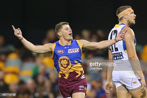 Dayne Zorko of the Lions celebrates a goal during the round 18 AFL match between the Brisbane Lions and the Gold Coast Suns at The Gabba on July 26...
