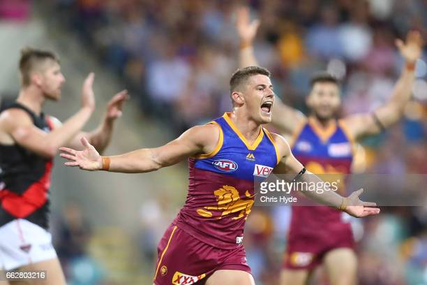 Dayne Zorko of the Lions celebrates a goal during the round two AFL match between the Brisbane Lions and the Essendon Bombers at The Gabba on April 1...