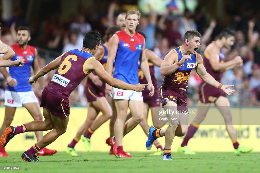 Dayne Zorko of the Lions celebrates a goal during the round two AFL match between the Brisbane Lions and the Melbourne Demons at The Gabba on March 31, 2018 in Brisbane, Australia.