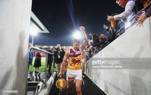 Dayne Zorko of the Lions celebrates after the round 22 AFL match between the Gold Coast Suns and Brisbane Lions at Metricon Stadium on August 18 2018...