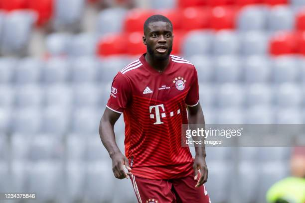 Dayot Upamecano of Bayern Muenchen looks on during the Pre-Season Match between FC Bayern Muenchen and SSC Napoli at Allianz Arena on July 31, 2021...
