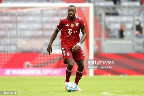 Dayot Upamecano of FC Bayern München runs with the ball during the Bundesliga match between FC Bayern München and 1. FC Köln at Allianz Arena on...