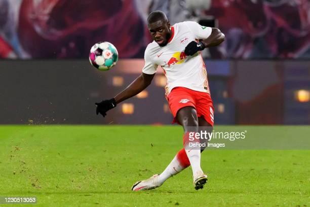 Dayot Upamecano of RasenBallsport Leipzig controls the ball during the Bundesliga match between RB Leipzig and Borussia Dortmund at Red Bull Arena on...