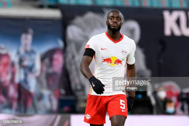 Dayot Upamecano of RasenBallsport Leipzig looks on during the Bundesliga match between RB Leipzig and 1. FC Koeln at Red Bull Arena on December 19,...