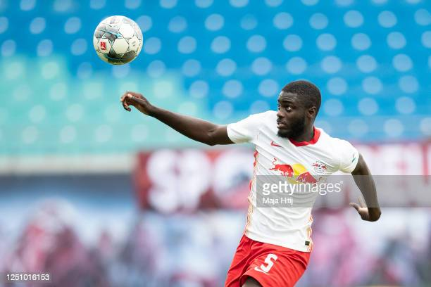 Dayot Upamecano of RB Leipzig controls the ball during the Bundesliga match between RB Leipzig and Borussia Dortmund at Red Bull Arena on June 20,...