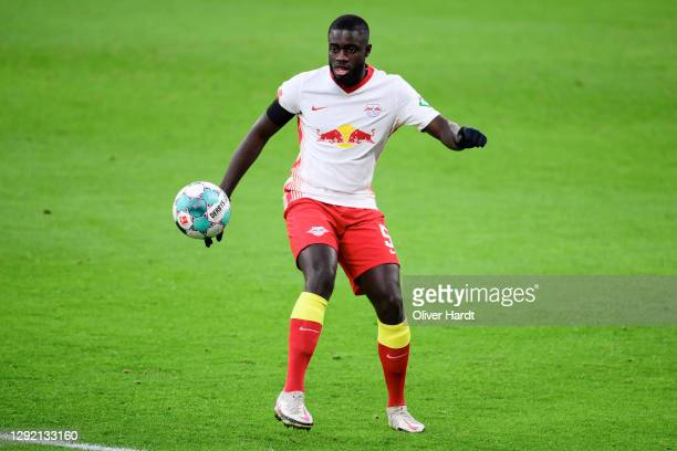 Dayot Upamecano of RB Leipzig controls the ball during the Bundesliga match between RB Leipzig and 1. FC Koeln at Red Bull Arena on December 19, 2020...