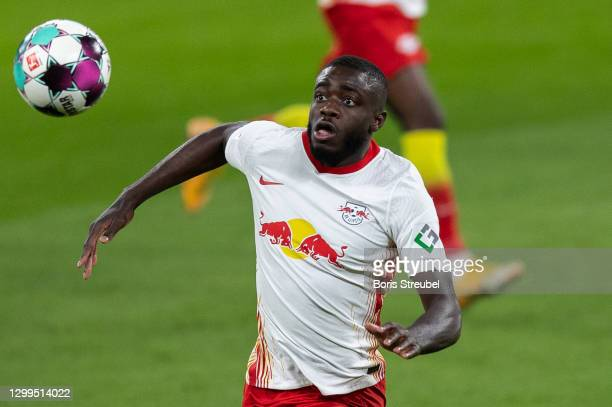Dayot Upamecano of RB Leipzig controls the ball during the Bundesliga match between RB Leipzig and Bayer 04 Leverkusen at Red Bull Arena on January...