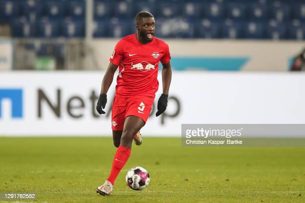 Dayot Upamecano of RB Leipzig in action during the Bundesliga match between TSG Hoffenheim and RB Leipzig at PreZero-Arena on December 16, 2020 in...