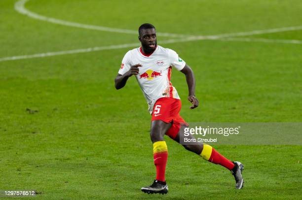 Dayot Upamecano of RB Leipzig in action during the Bundesliga match between RB Leipzig and 1. FC Union Berlin at Red Bull Arena on January 20, 2021...