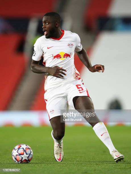 Dayot Upamecano of RB Leipzig in action during the UEFA Champions League Group H stage match between Manchester United and RB Leipzig at Old Trafford...