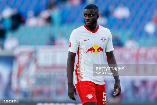 Dayot Upamecano of RB Leipzig looks on during the Bundesliga match between RB Leipzig and 1. FSV Mainz 05 at Red Bull Arena on September 20, 2020 in...