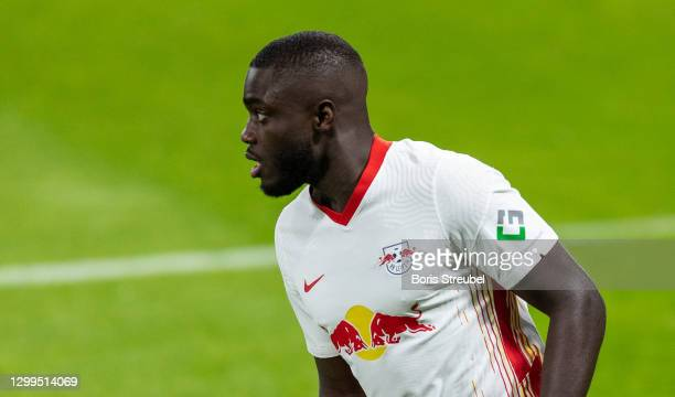Dayot Upamecano of RB Leipzig looks on during the Bundesliga match between RB Leipzig and Bayer 04 Leverkusen at Red Bull Arena on January 30, 2021...