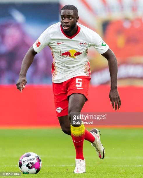 Dayot Upamecano of RB Leipzig runs with the ball during the Bundesliga match between RB Leipzig and Hertha BSC at Red Bull Arena on October 24, 2020...