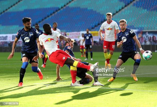 Dayot Upamecano of RB Leipzig scores his team's first goal during the Bundesliga match between RB Leipzig and Hertha BSC at Red Bull Arena on October...