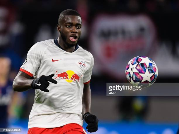 Dayot Upamecano of Red Bull Leipzig during the UEFA Champions League round of 16 second leg match between Red Bull Leipzig and Tottenham Hotspur FC...