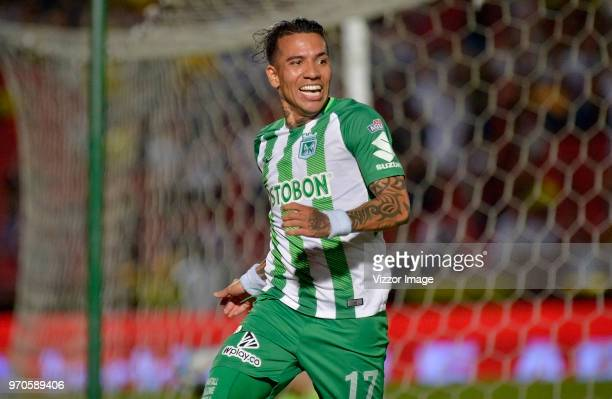 Dayro Moreno of Atletico Nacional celebrates after scoring the first goal of his team during the first leg match bewteen Deportes Tolima and Atletico...