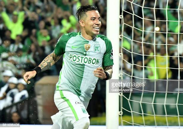 Dayro Moreno of Atletico Nacional celebrates after scoring the third goal of his team during a match between Atletico Nacional and Chapecoense as...