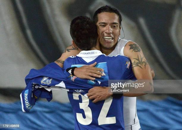 Dayro Moreno of Millonarios celebrates a goal against Huila during a match between Millonarios and Atletico Huila as part of the Liga Postobon II...