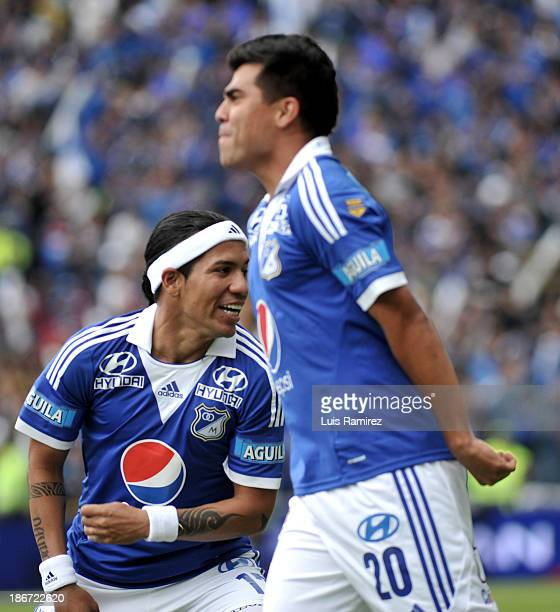 Dayro Moreno of Millonarios celebrates a scored goal against Deportes Tolima during a match between Millonarios and Deportes Tolima as part of Liga...