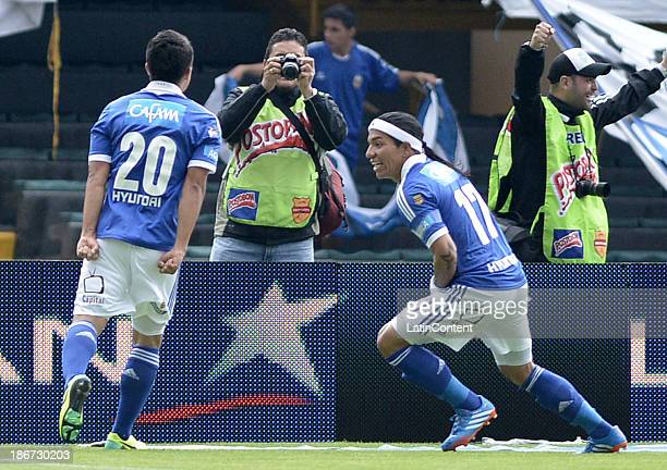 Dayro Moreno of Millonarios celebrates a scored goal against Deportes Tolima during a match between Millonarios and Deportes Tolimaas part of Liga...