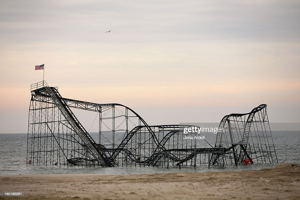CONTENT] Days after Christopher Angelo climbed to the top of the Jet Star roller coaster in Seaside Heights, New Jersey to place an American flag atop of the sunken coaster, in attempt to raise awareness for shore recovery.