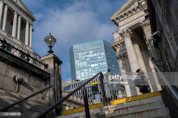 Days before the Chancellor Rishi Sunak delivers his Budget, a wide view of the Bank of England and Royal Exchange in the City of London, the...