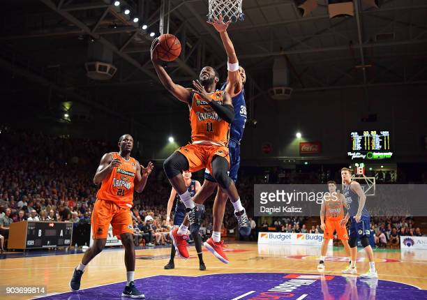 Dayshon Smith of the Taipans drives to the basket during the round 14 NBL match between the Adelaide 36ers and the Cairns Taipans at Titanium...