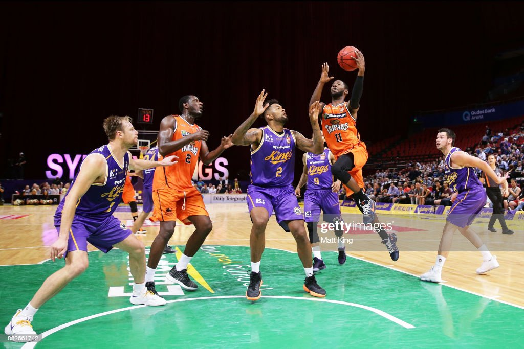 Dayshon Smith of the Taipans drives to the basket during the round eight NBL match between the Sydney Kings and the Cairns Taipans at Qudos Bank Arena on November 30, 2017 in Sydney, Australia.