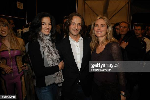 Dayssi Olarte de Kanavos Luca Orlandi and Valesca GuerrandHermes attend the Luca Luca Fashion Show at The Tent Bryant Park on February 8 2004 in New...