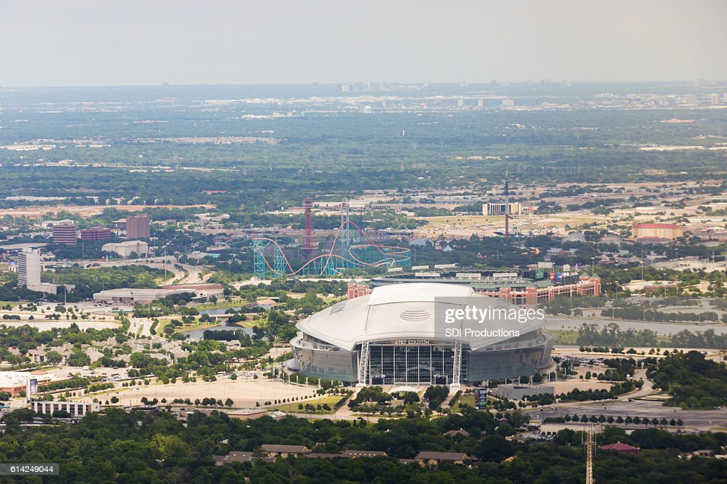 Daytime aerial view of AT&T Stadium in Arlington, Texas : Stock Photo