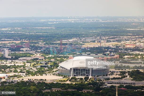 Daytime aerial view of AT&T Stadium in Arlington, Texas
