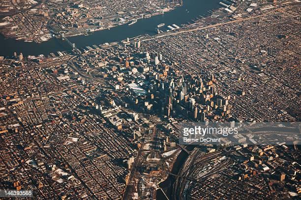 Daytime aerial view of city of Philadelphia, US