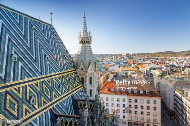 daytime aerial view of vienna city - vienna austria stock pictures, royalty-free photos & images