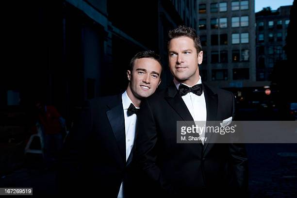 MSNBC daytime anchor Thomas Roberts and husband an HIV community liaison for pharmaceutical company Merck Patrick Abner are photographed for Out...
