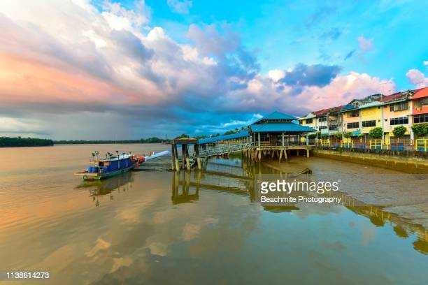 daytime clouds and reflections in sarikei, sarawak - sarawak state stock pictures, royalty-free photos & images