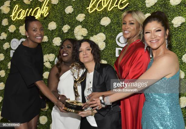 Daytime Emmy Award winners Aisha Tyler Sheryl Underwood Sara Gilbert Eve and Julie Chen attend the CBS Daytime Emmy After Party at Pasadena...