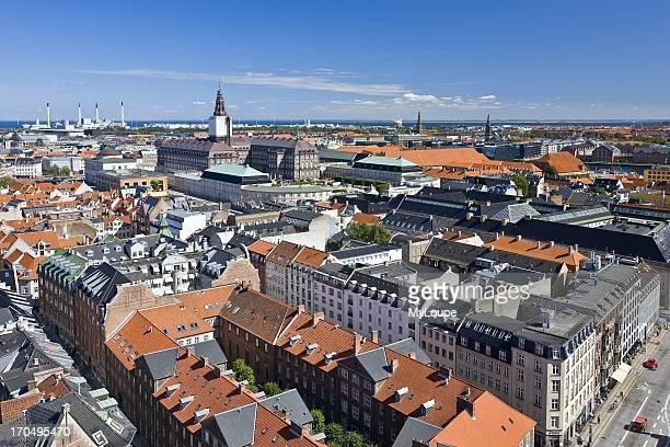 Daytime overview of the city of Copenhagen Denmark