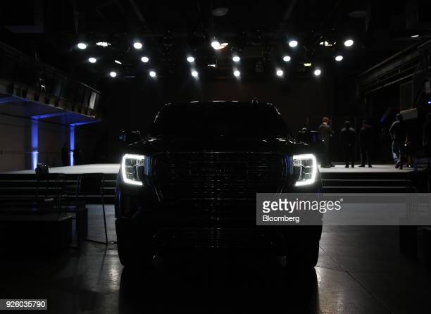 LED daytime running lights are seen on the General Motors Co 2019 GMC Sierra Denali truck during an event at Russell Industrial Complex in Detroit...