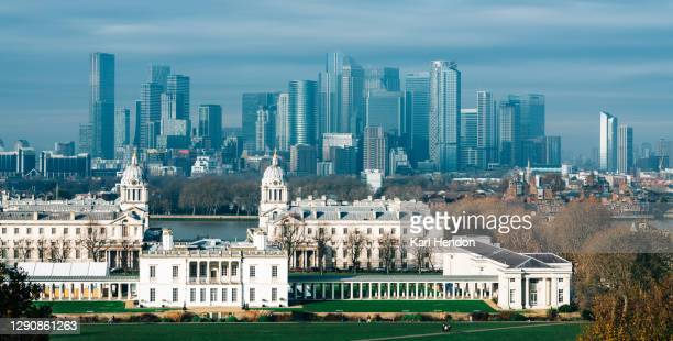 a daytime view of greenwich and canary wharf - stock photo - making money stock pictures, royalty-free photos & images